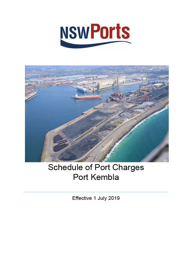 Port Kembla Schedule of Port Charges effective 1 July 2019